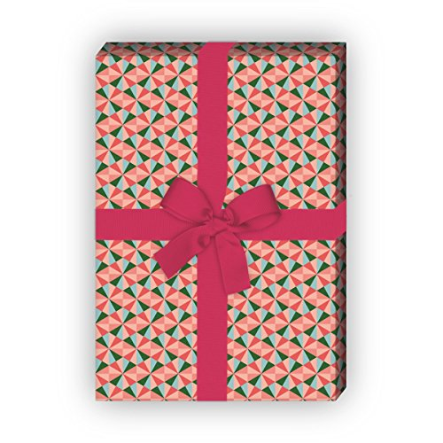 Kartenkaufrausch cadeaupapier, set van 4 vellen, decoratief papier in driehoek splitter look, groen, voor mooie geschenkverpakking, patroonpapier om te knutselen 32 x 48 cm