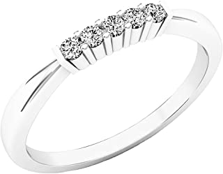 Dazzlingrock Collection 0.10 Carat (ctw) 10K Gold Round Diamond Ladies 5 Stone Anniversary Wedding Ring Band 1/10 CT