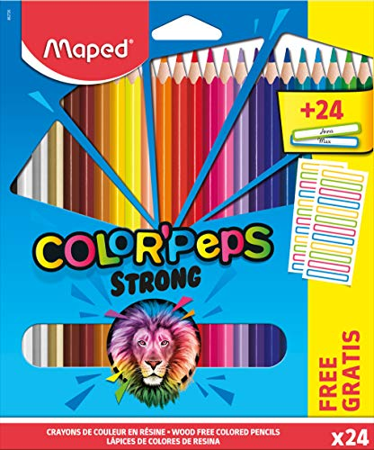 Maped - Lápices de colores ergonómicos triangulares, lápices de colores Color'PEPS STRONG - x24 lápices + x24 pegatinas para el nombre.