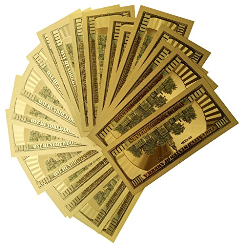Lots 50PCS 24K Gold 1:1 $ 100 dollar Gold Foil USD Paper Money Banknotes Crafts for One-of-a-kind $100 bank note and Amazing detail & authentic look