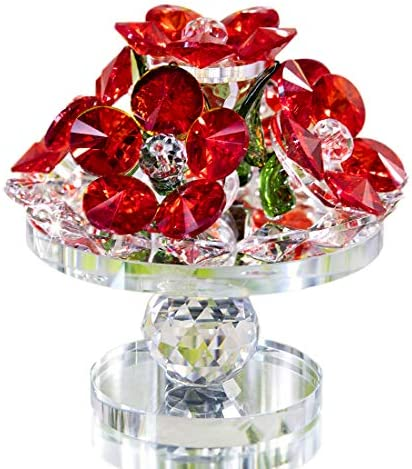 Red Rose Figurine Ornament Spring Bouquet Crystal Glass Flowers Gift-Boxed