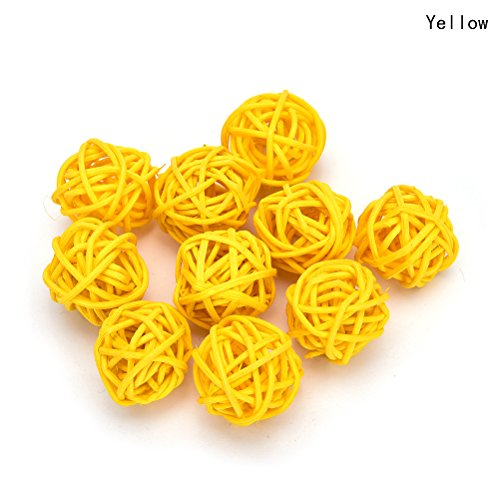 7thLake 10 Pieces/Set Rattan Wicker Ball Decoration Ornaments Wedding Christmas Party Table Desk Garden Hanging Decoration,yellow,5cm