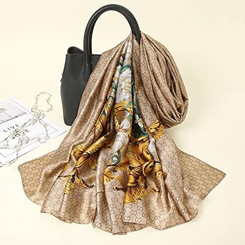 Vcnhln Brocado Bufanda de Seda Estampada Primavera y Verano Bufanda de Moda para Mujer Toalla de Playa mantón de protección Solar