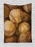 DUTRIX Vintage, Fondo de béisbol Vintage, Tema Deportivo Americano, Cuero nostálgico, Bolas Retro, Ilustraciones, Colgante de Pared para decoración de Dormitorio, Sala de Estar, Dormitorio, marrón