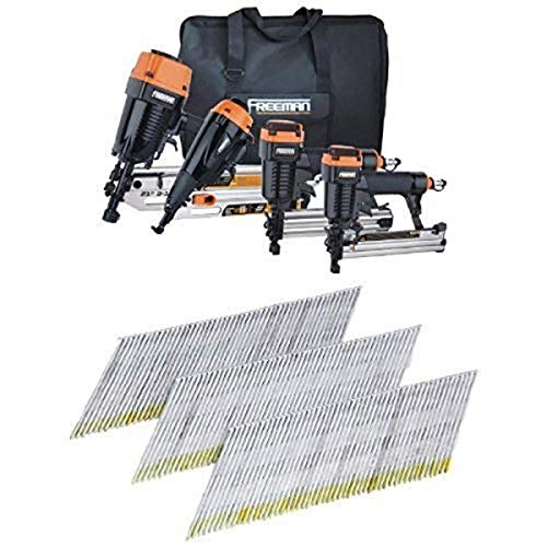 Freeman P4FRFNCB 4 Piece Framing/Finishing Combo Kit with Canvas Bag and 1000 2-Inch by 15 Gauge Angle Finish Nails