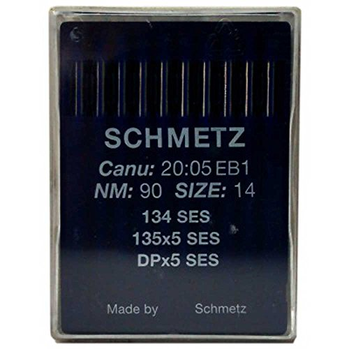 Schmetz Agujas industriales para máquina de coser: 134 SES Ball Point/Jersey – 90/14 (paquete de 10) – Compra 2 Get 3rd Free + Enhebrador de agujas (un solo paquete)