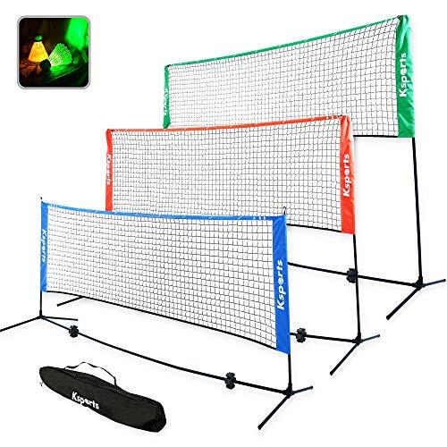 Ksports Portable Badminton Net Set−One Green 10ft Net for Pickleball, Tennis, Soccer Tennis, Kids Volleyball−4 LED Shuttlecocks−One Carry Bag−Easy Setup Nylon Net with Poles for Indoors & Outdoors