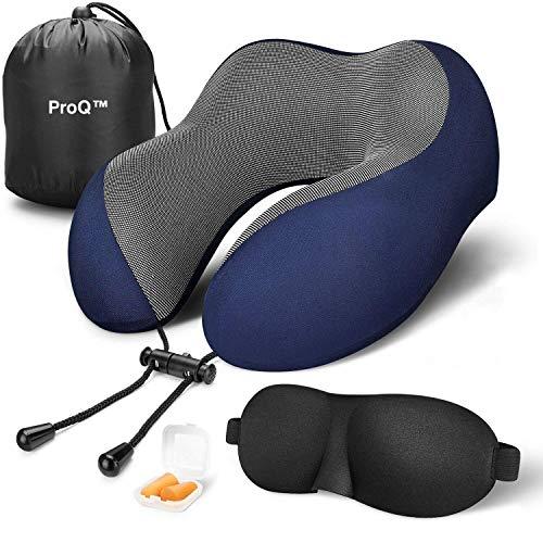 Memory Foam Travel Neck Support Pillow Eye Mask, Noise Isolating Ear Plugs Portable Combo (Blue)