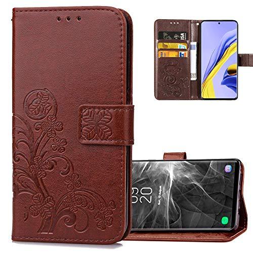 COTDINFOR Etui für Xiaomi Redmi Note 8T Hülle PU Leder Cover Schutzhülle Magnet Tasche Flip Handytasche im Bookstyle Kartenfächer Lederhülle für Xiaomi Redmi Note 8T Clover Brown SD