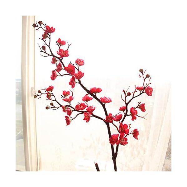 Lemoning Home Decor for Living Room, Artificial Silk Fake Flowers Plum Blossom Floral Wedding Bouquet Party Decor