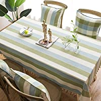 長方形のテーブルクロスウォッシャブルコットンリネンシワフリー 正方形の縞模様のテーブルカバーキッチンダイニングテーブルトップデコレーションコーヒー100%ポリエステル長方形のテーブルクロス付きタッセル、5色 キッチンダイニング卓上装飾用 (Color : Green, Size : 135*250cm)