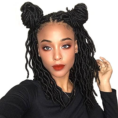 Wavy Gypsy Locs Crochet Hair, 8 Packs Faux Locs Crochet Hair 12 Inch For Butterfly Locs, Goddess Locs Crochet Hair For Black Women, Nu Soft Locs Braiding Hair Synthetic Dreads (1B#)