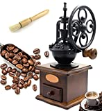 Fecihor Manual Coffee Grinder + Coffee Powder Cleaning Brush, With Grind Settings and Catch Drawer - Classic Vintage Style Manual Hand Grinder Coffee Mill