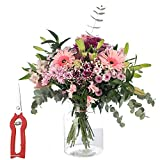 RAMO DE FLORES VARIADAS EN TONO ROSA, TIJERAS DE REGALO, ENTREGA 24 HORAS GRATIS  Flores Frescas Naturales y Recién Cortadas a domicilio   San Valentín