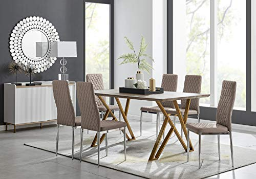 Furniturebox UK Taranto Oak Effect Dining Table and 6 Cappuccino Milan Chairs