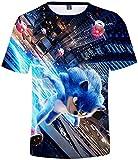 Silver Basic Camiseta de Sonic The Hedgehog para Niños Camiseta de Verano con Estampado Gráfico de Sonic Fanáticos de los Sonic Videojuegos XS,2588Sonic Azul E-3