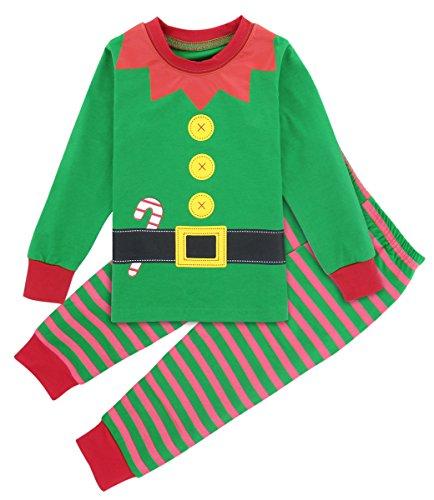Mombebe Costume Elfo Bambino Natale Pigiama Bimbo Inverno Abbigliamento Set (Elfo di Natale, 12-18 Mesi)