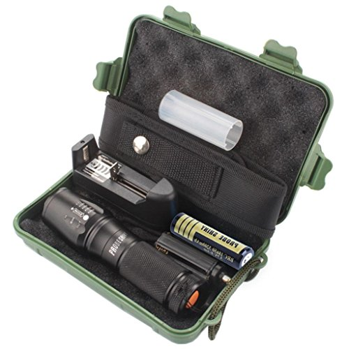Set de lampe de poche LED, fonte Power X800 Zoo Mabel XML T6 SUPERHELL & étanche Police tactique lampe de poche + 18650 batterie + chargeur + Boîte Cadeau, pour randonnée et camping outdoor