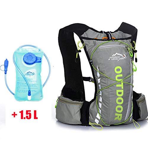 Huien outdoor 10L sportrugzakken fietstas reizen bergbeklimmen tas dames heren rugzak met 1.5L waterfiets, grijs groene waterzak