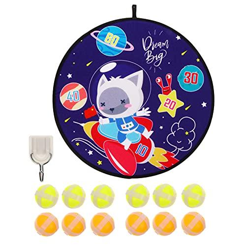 PartyKindom Tablero de dardos de doble cara para niños, tablero de dardos con lado de dibujos animados y 12 bolas adhesivas para juego de tablero de dardos interior al aire libre