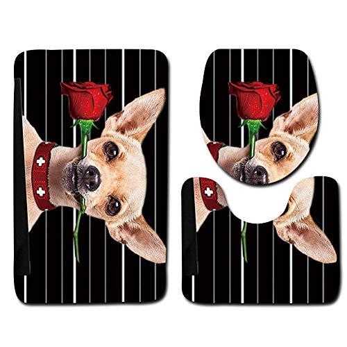 RUYUYM Alfombrillas De Baño Juego De 3 Piezas - Perro Rosa, Secado rápido Antideslizantes Alfombra de Pedestal + Tapa de Inodoro + Alfombrilla de baño(50 x 80 cm)