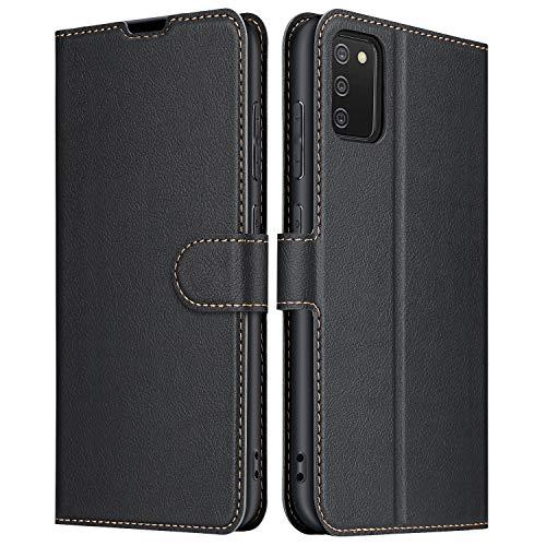 ELESNOW Hülle für Samsung Galaxy A02s, Premium Leder Flip Schutzhülle Tasche Handyhülle mit [ Magnetverschluss, Kartenfach, Standfunktion ] für Samsung Galaxy A02s (Schwarz)