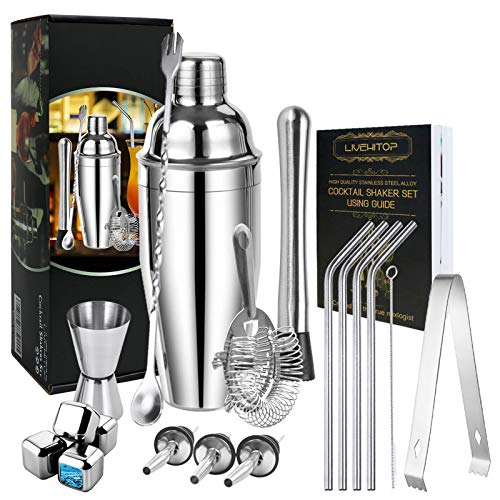 LIVEHITOP Cocktail Set, 19 Cocktail Bar Set Professioneller 750 ML Cocktail Shaker mit 4 x Whisky Steinen für Bar, Zuhause, Party
