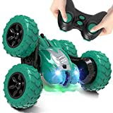 AFUNX Remote Control Car,RC Stunt Double Sided 360° Rolling Rotating Rotation Cars, High Speed Off Road Racing Truck for 3 4 5 6 7 8-12 Year Old Boy Kids Toy (Green)
