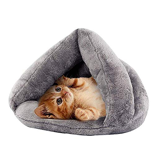 N / A Cave Shape Pet Cat Beds for Cats and Small Dogs, Foldable Indoor Pet Triangle Nest, Comfortable Cave Covering Dog Bed