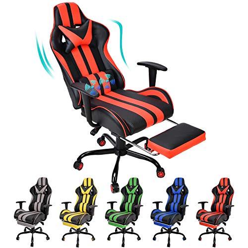 Massagesessel, ergonomischer Computerstuhl, Kopfstütze, Lendenwirbelstütze, Fußstütze, verstellbare Liege, PU-Leder, Video, Computerstuhl, Weihnachtsgeschenk (rot)