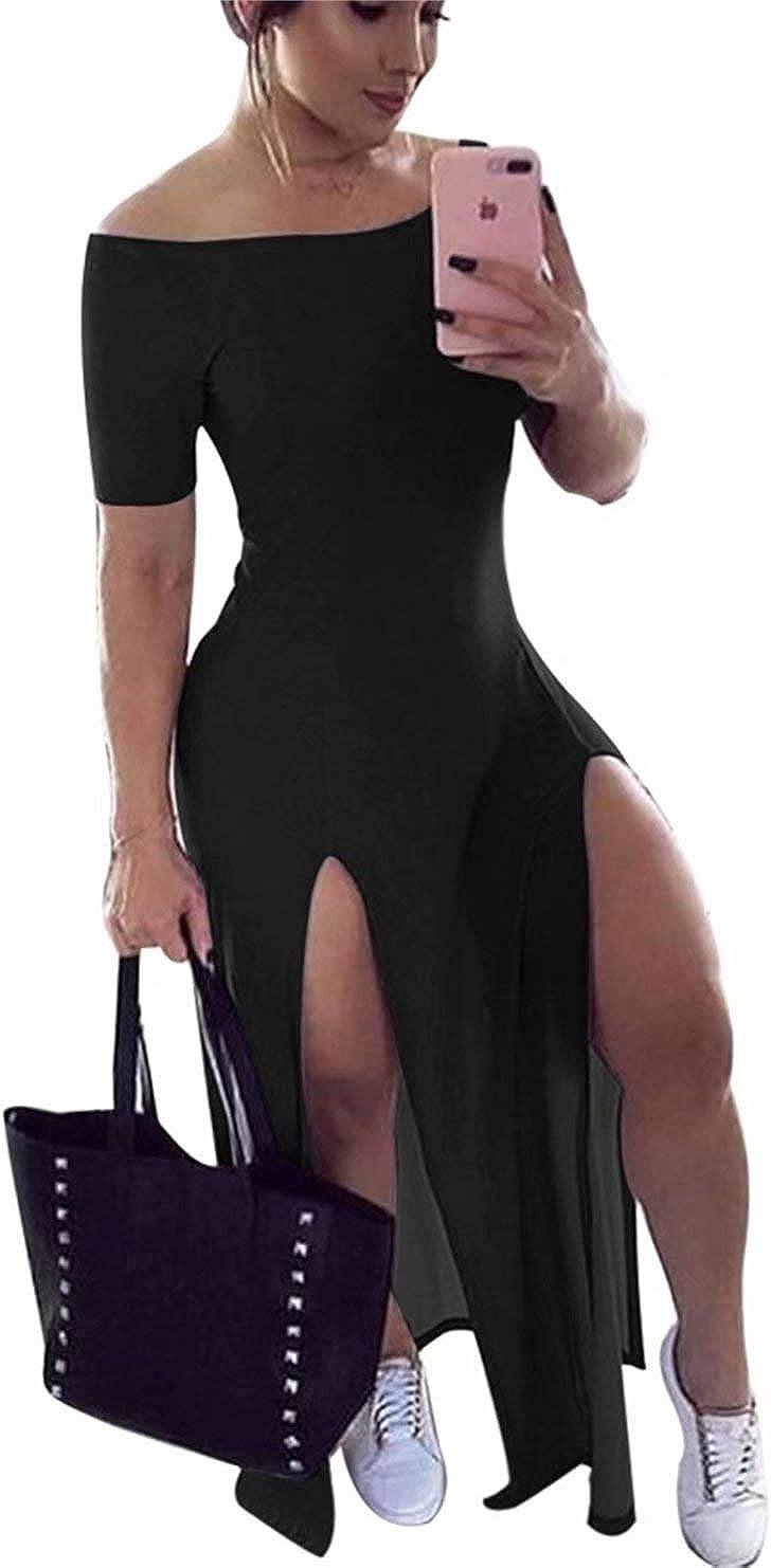 Women Casual Off The Shoulder V Neck Short Sleeve Solid Maxi Par
