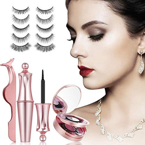 Cils magnétiques, eyeliner et cils magnétiques, kit de faux cils magnétiques, cils magnétiques d'aspect naturel avec eyeliner magnétique imperméable réutilisables sans colle (3 paire)