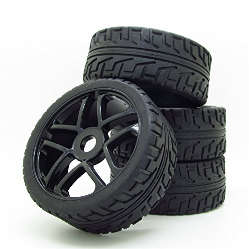 Wheel Rim Rubber Tires RC 1:8 Off-Road Tyre 17mm Hexagonal Joint Pack of 4 Black