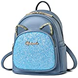 Mini Backpack for Girls Cute Cat Ears Design Leather Women's Backpack Purse with Sequin Decoration,Sky Blue