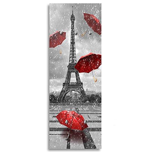 Feeby, Patère Murale, Porte-Manteau Déco, Crochets sur Tableau Deco Panel, 118x40 cm, Tour Eiffel, Paris, PARAPLUIES, Pluie, Vue, Rouge, Noir ET Blanc