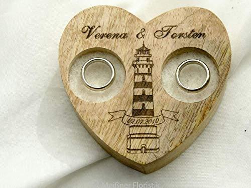 Ringkissen Holz Herz klein mit Gravur Maritim Leuchtturm