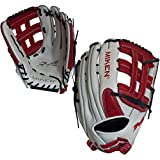 Miken Pro Series Slowpitch Softball Glove, 13.5 inch, White/Red, Left Hand Throw