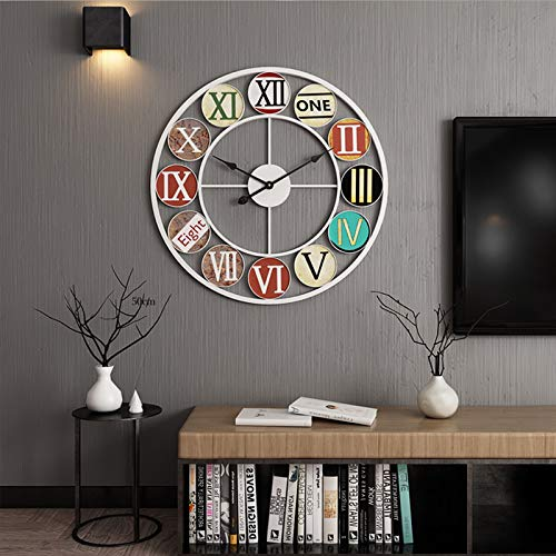 Wikidea Retro Vintage Large Wall Clock Silent Clock, Metal Wall Clock (Batteries not Included) white-40 * 40cm