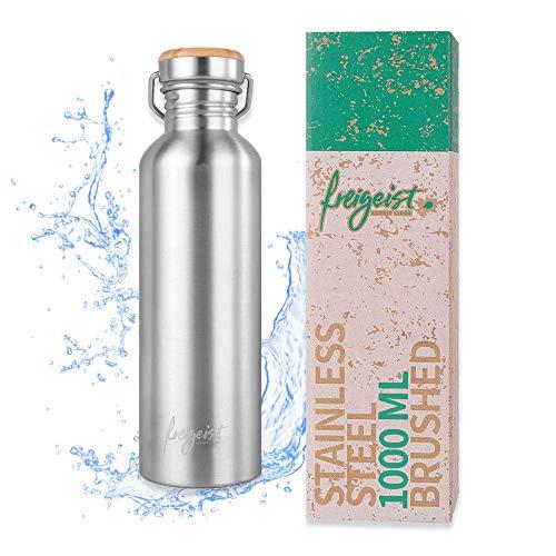 freigeist Edelstahl Trinkflasche 1l | Trinkflasche kohlensäure geeignet einwandig | BPA frei | spülmaschinenfest