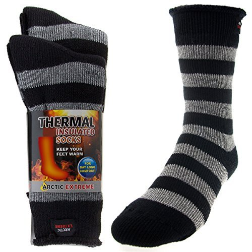2 Pairs of Mens Thick Heat Trapping Insulated Boot Thermal Socks Pack Warm Winter Crew For Cold...