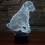 YI KUI lámparas de escritorio creativo luz de la noche linda del perrito 3D centro de mesa Lámpara de luz LED 250X179X87 (mm) Batería recargable de la cámara de pilas USB Touch