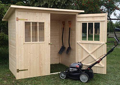 Alpholz Gerätehaus Zimowit aus Massiv-Holz | Gerätehaus mit 14 mm Wandstärke | Garten Holzhaus inklusive Montagematerial | Geräteschuppen Größe: 194 x 118 cm | Pultdach