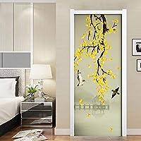 ZWYCEX ドアステッカー 自己接着は、ドアステッカーホームデコレーション防水鳥ツリーブリッジの壁紙を印刷ピクチャー北欧アートリノベーションリビングルームから3d (Sticker Size : 95x215cm)