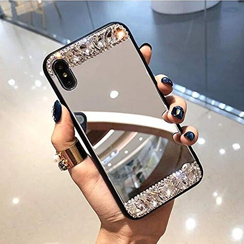 AAA&LIU Funda para teléfono para iPhone 11 12 Pro MAX para iPhone 7 8 Plus 6 6S X XR XS MAX SE Clear Mirror DIY Glossy Diamond Glitter Cover Shell, b, para iPhone 12 Pro