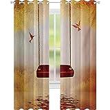 YUAZHOQI - Cortinas para puerta francesa, color rojo, hamaca y colibrí en un lago pacífico...
