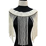 Cadena de hombro Chal perla Cadena de hombro Joyería Elegante Chica Cuentas Cuerpo Cadena Grande Collar Joyería para Vestidos de Boda de Mujer (Color de metal: Blanco)