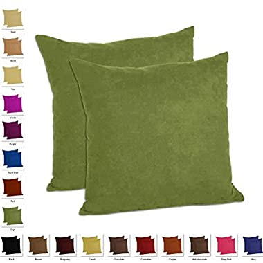 MoonRest - Faux Suede Decorative Pillow Shams Solid Colors (Set of 2) (18 x18 , Sage)