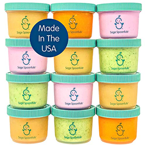 Sage Spoonfuls Reusable Baby Food Storage Containers - 12-Pack of 4 Ounce Plastic Jars - Microwave, Dishwasher, Fridge-Safe - BPA, Lead, Phthalate, and PVC-free - Clear