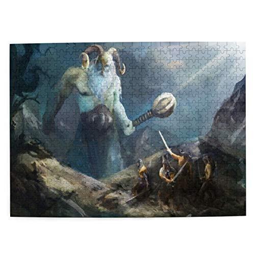 Rompecabezas de 500 Piezas,Héroes Vikingos de Valhalla con diseño de Acuarela de...