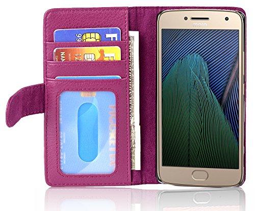 Cadorabo Funda Libro para Motorola Moto G5 Plus en Burdeos Violeta - Cubierta Proteccíon con Cierre Magnético e 3 Tarjeteros - Etui Case Cover Carcasa